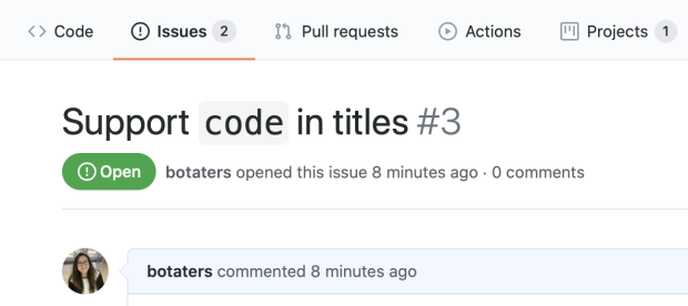codeblock in issue title