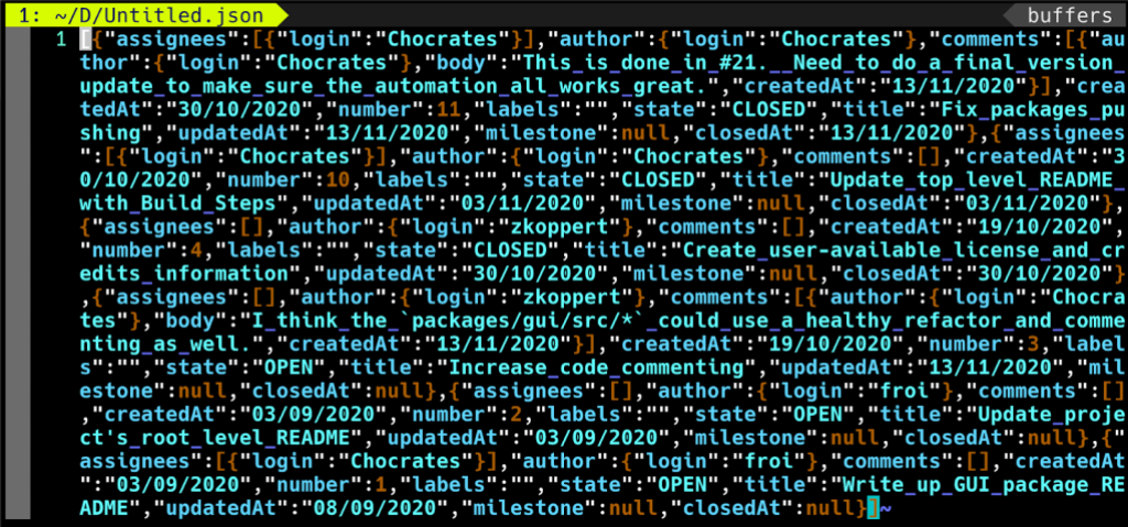 Screenshot of JSON data export using GitHub Artifact Exporter