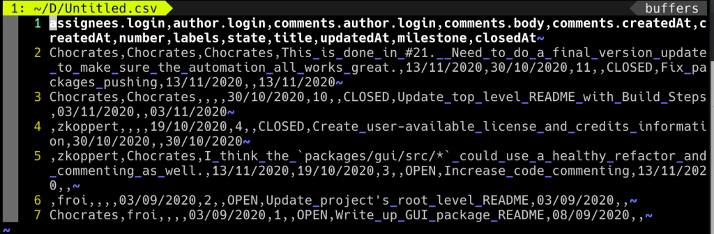 Screenshot of comma-delimited CSV data export using GitHub Artifact Exporter