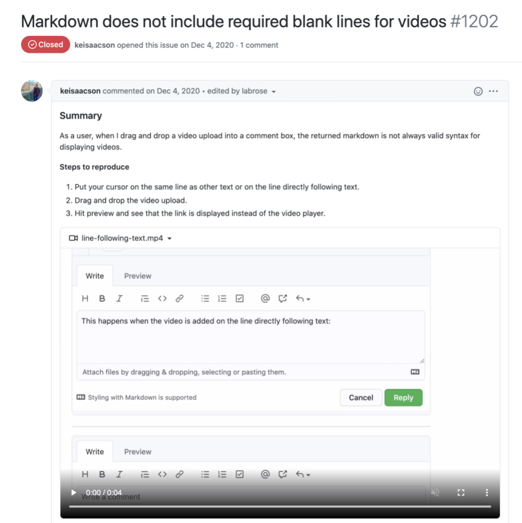 Video included in an issue comment to show reproduction steps for a Markdown and video bug