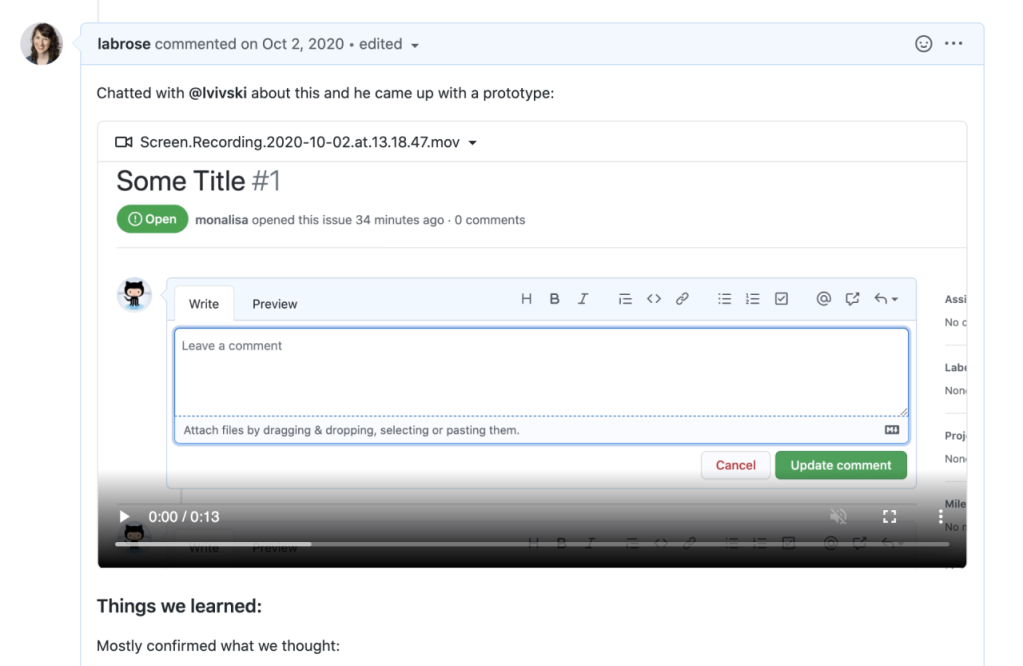 User posts a video demonstrating how a new feature might work and includes key learnings in an issue comment