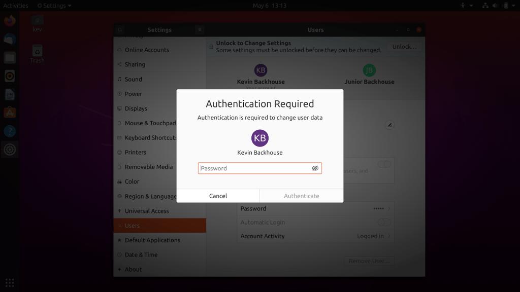 Screenshot of polkit dialog box prompting authentication