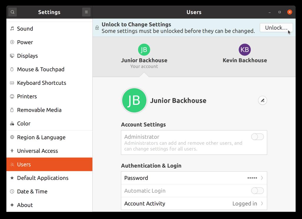 Screenshot of GNOME settings dialog