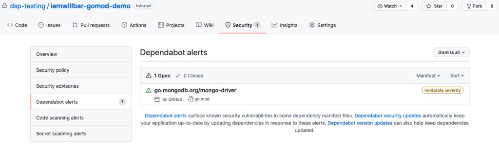 Screenshot of a Dependabot alert