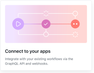 Feature card that reads: Connect to your apps! Integrate with your existing workflows via the GraphQL API and webhooks