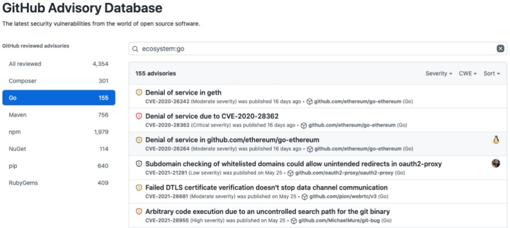 screenshot of GitHub Advisory Database, which now includes Go