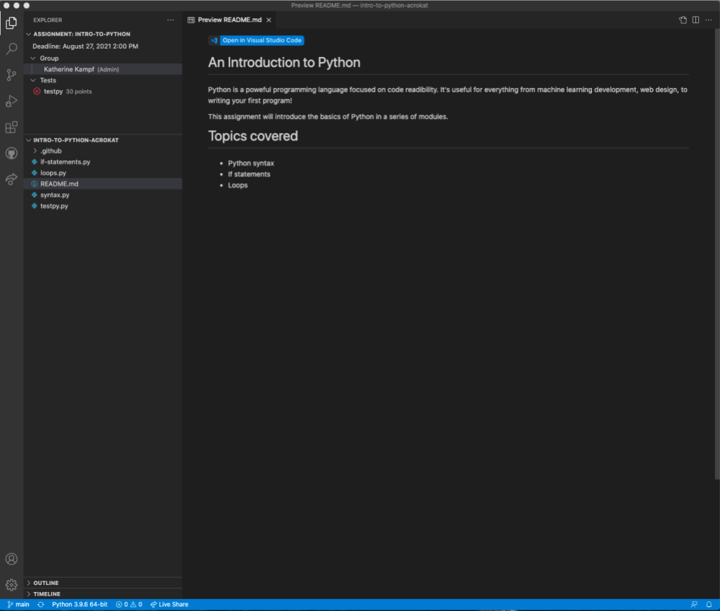 """screenshot of """"introduction to Python"""" in Visual Studio Code extension"""