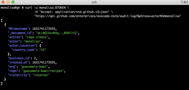 screenshot of API repo create event
