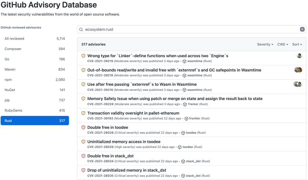 Screenshot of GitHub Advisory Database with Rust filter applied, showing 317 advisories
