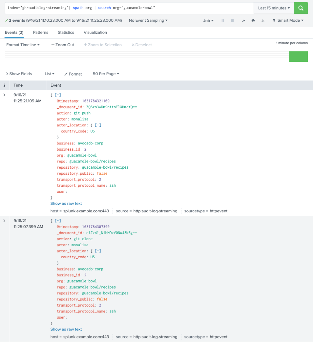 screenshot of org filtering using Splunk web client