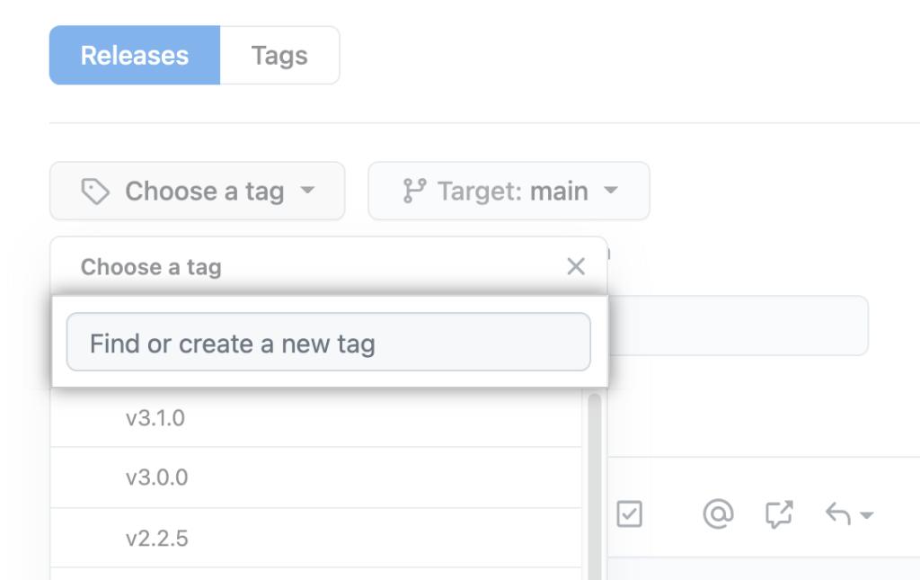 Screenshot of version tags