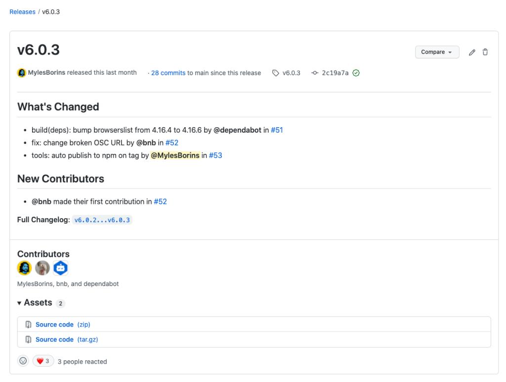 Screenshot of release UI